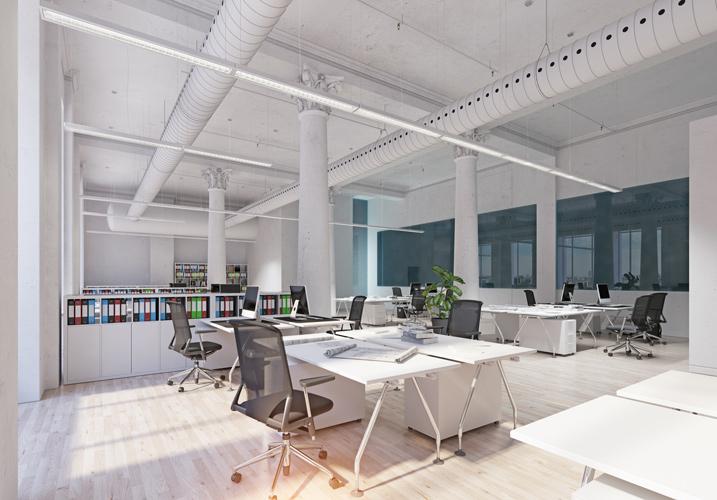 部署や事業部の壁をなくした自由に席を移動できるオフィススタイル